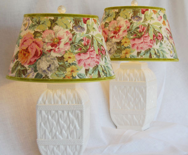 Vintage Ceramic Lamps w/Floral Linen Shades