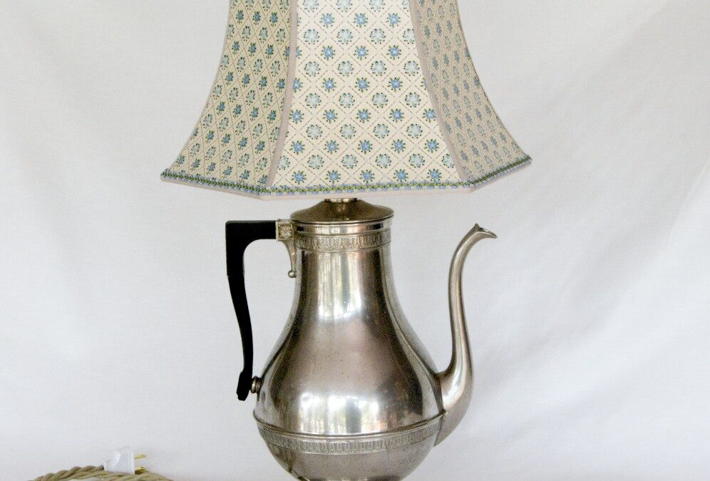 Upcycled lamps using vintage coffee pots from the 1940s and 1950s.